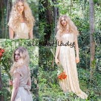 Wholesale ruffle ivory lace western dress resale online - Champagne Ivory Lace Western Country Boho Wedding Dresses with Wrap Sleeve Vintage V neck Bohemian Beach Bridal Wedding Gown