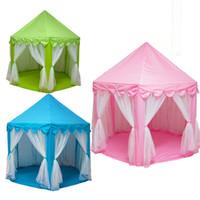 kapalı ev ışıkları toptan satış-Çocuklar Çadır Oynamak Prens ve Prenses Parti Çadır Çocuk Kapalı Açık çadır Oyun Evi 1 M LED Işık ile Üç Renk