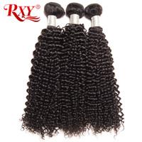 kalın saçları demetle toptan satış-Rxy Perulu Saç Demetleri Afro Kinky Kıvırcık Saç Dokuma Kalın Biter Perulu Kıvırcık Virgin İnsan Saç Demetleri Atma Ücretsiz 10-26 Inç