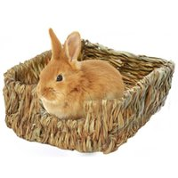Wholesale rabbits cages resale online - Handcraft Woven Grass Hamster Nest Small Pet Rabbit Hamster Cage House Chew Toys Foldable Pig Rat Hedgehogs Chinchilla Bed