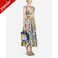 Wholesale cute polyester dresses sleeves resale online - Holiday Summer Sexy Backless Maxi Dresses Women Girl Fashion Cute Sicily Porcelain Patterns Print Sleeveless Dress
