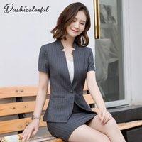 traje de dos piezas mujer coreana al por mayor-Traje de manga corta a rayas falda mujer verano 2019 nueva moda coreana profesional temperamento traje de oficina de negocios conjunto de dos piezas