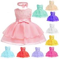 stoffbogenkleid großhandel-Babykleid Hunderttageskleid Prinzessin Kleid Höhlte Muster Gaze Bogen Innen Baumwollgewebe Ärmellos Einfarbig 61