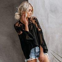ingrosso cime superiori-2019 New Wome V collo ricamo floreale Top Fashion Ladies Estate camicetta casual sciolto camicie