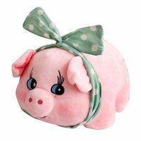 fetter bogen großhandel-Rosa Schwein Gefüllte Tier Grün Bogen Stirnband Fett Runde Fu Piggy Super Niedlichen Chinesischen Schwein Jahr Maskottchen Home Decor baby spielzeug für kinder
