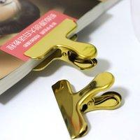 sac plaque dorée achat en gros de-Creative Golden clip en acier inoxydable trombones alimentaire sac scellant placage queue d'aronde clip fournitures de bureau
