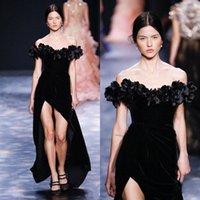 zarif seksi üniforma elbise toptan satış-Zarif Siyah Bölünmüş Elbiseler Akşam Aşınma Kılıf Kapalı Omuz Parti Abiye Kat Uzunluk Kadife Ünlü Parti Elbise
