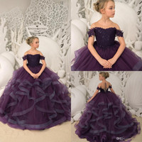 Wholesale white black flower girl for toddlers online - Princess Purple Ball Gown Flower Girls Dresses For Wedding Lace Sequins Ruffles Ball Gown Girl Pageant Gowns Toddlers Birthday Party Dress