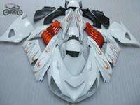 beyaz zx kaplamalar toptan satış-Kawasaki Ninja ZX-14 2006 2007 2008 ZX14R 06 07 08 ZX 14R 8/6 beyaz Çinli motosiklet grenaj kaporta için belirlenen Enjeksiyon Kalafatlama