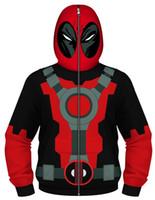 trajes de cosplay de anime meninos venda por atacado-Meninos Deadpool Cosplay dos desenhos animados Anime capuz zip completo Mascarado Jacket Brasão Hoodie Halloween traje Moletom