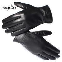 erkeklerin marka koyun derisi orijinal toptan satış-Erkekler için gerçek Koyun Derisi Magelier Hakiki Deri Eldiven Siyah Parmak Eldiven Kış Sıcak Moda Marka Eldivenler Yeni Varış 052