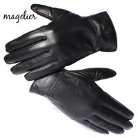 настоящие овчинные перчатки оптовых-Magelier Genuine Leather Gloves for Men Real Sheepskin Black Finger Gloves Winter Warm Fashion  Mittens New Arrival 052