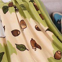Wholesale totoro bed resale online - 140x100cm soft My Neighborhood Totoro blanket plush kids coral fleece throw blanket travel bed sheet quilt sofa gift