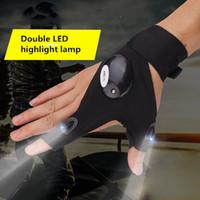 siyah parmak eldivenleri toptan satış-Siyah Bir Boyut Araba Tamir Çalışma Açık Balıkçılık Survival Araçları Yaratıcı Yürüyüş LED Işık Parmak Aydınlatma Eldiven