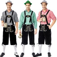 neue kostüme für männer großhandel-Designer-Kostüme 2019 Neue deutsche traditionelle Oktoberfest Kleidung Plaid Shirt Männer Bier Strapse Anzug Luxus Kleidung