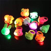 Wholesale bear fingers resale online - LED Animal Rings Soft Glue Luminescence Finger Lamp Luminous Heart Bear Butterfly Ring Children Toys Party Gift mc H1