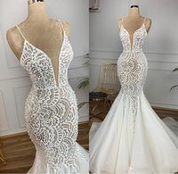 Wholesale charming elegant sexy lace backless mermaid for sale - Group buy Beaded Designer Mermaid Full Lace Arabic Wedding Dresses Spaghetti Sexy Vintage Bridal Dresses Charming Elegant Sweep Train Wedding Gowns