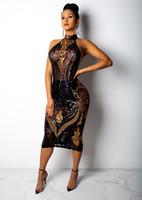kadınlar kıyafetler dizginleri toptan satış-Kadınlar Tasarımcı payetli elbise Siyah Akşam Halter Seksi Elbise BODYCON Elbise See Through