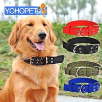 Wholesale double nylon dog collars resale online - Four Layer Nylon Double Breasted Large Dog Collar Blue black red green Big Dog Collars Big Leash High quality Pet Collares