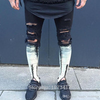 jeans rasgados de tyga al por mayor-Ripped Patchwork Zipper Jeans para hombres Skinny Distressed Slim Famous Brand Designer Biker Hiphop Swag Tyga Blanco Negro Slim Jeans