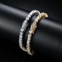 adam bakır zincir toptan satış-Erkekler için hip hop tenis diamonds zincir bilezikler moda lüks bakır zirkonlar bilezik 7 inç 8 inç altın gümüş zincirler takı