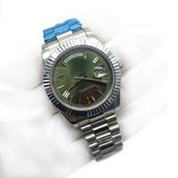 relógios mens de cristal de safira venda por atacado-Top de Luxo Mens Watch Day-Date Cristal De Safira Rosa de Ouro 18 K Roma Número Homens Relógios de Aço Inoxidável Automático Mecânico Relógio de Pulso Masculino.