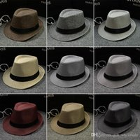 chapéus para homem venda por atacado-Vogue Homens Mulheres de Algodão / Linho Chapéus De Palha Chapéus de Panamá Fedora Macio Ao Ar Livre Tampas de Borda Mistas 28 Cores Escolher