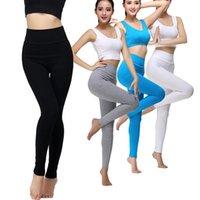 ingrosso black female yoga pants-PENERAN Pantaloni da yoga da donna in cotone Pantaloni da donna a vita alta Leggings ad alta elasticità Slim Solid Nero Bianco Grigio S M XL XXXL 2017