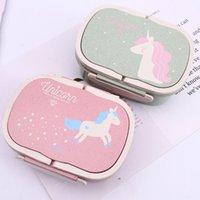 Wholesale design products resale online - 2 Layers Wheat Straw Lunch Box Ellipse Unicorn Pattern Bento Boxes Cartoon With Handle Design Food Containers Portable jm BB