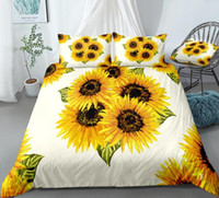 Wholesale bedding sets sunflowers for sale - Group buy 3pcs Sunflowers Duvet Cover Set Yellow Flower Bedding Kids Boys Girls Floral Quilt Cover Queen Bed Set Yellow Flowers Dropship
