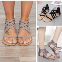 Wholesale rome sandals shoes resale online - Cross Band Sandals Toe Clamping Shoes Flat Bottom Sandal Women Rome Style Zipper Summer Comfortable slb f1