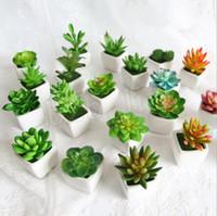 ingrosso bonsai succulenti-Pianta artificiale in vaso portatile mini simulazione succulente cactus tropicale realistica vaso di fiori finti bonsai ufficio complementi arredo casa mma1671