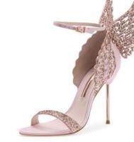 zapatos de angel al por mayor-La venta caliente-Sophia Webster Evangeline del ala del ángel de la sandalia Plus boda de cuero genuino Bombas Pink Glitter zapatos de las mujeres zapatos de las sandalias de la mariposa