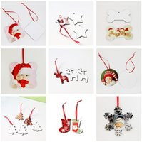 decorações mdf venda por atacado-Sublimação em branco enfeites Quadrados Neve Forma Detalhes no MDF Transferência quente impressão Coaster branco Multi-estilos A02