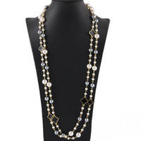 Wholesale long multi layer necklace for sale - Group buy Fashion designer luxury classic vintage clover flower elegant bright colorful pearls multi layer long sweater statement necklace for woman