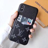 tarjetero de carcasa dura iphone al por mayor-Sincronización oficial de la caja del teléfono de lujo para el iPhone Xs Xs Xr Xs cuero máximo Shell titular de la tarjeta cubierta del teléfono diseñador