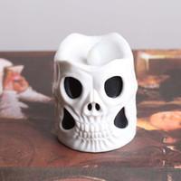 ingrosso luci per zucche di halloween-Halloween Candle Lights Decorazione LED Cranio elettronico candela decorazione candela lampada lampeggiante per fantasma Festival Party Decor