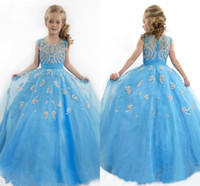 Wholesale kids flower girl dresses for sale - Group buy Lovely Blue Ball Gown Flower Girls Dresses Jewel Neck Cap Sleeve Beaded Kids Pageant Gowns Christmas Party Dresse