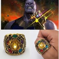 anillos de cristal infinito al por mayor-Avengers Infinity War Thanos Ring 7-12 Thanos Power Cosplay Aleación anillo masculino anillo de cristal envío gratis