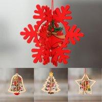 küçük yılbaşı ağacı hediye toptan satış-2020 Yaratıcı Merry Christmas Ahşap Hollow Noel ağacı Küçük kolye Beş köşeli yıldız Bell kolye Süsler Çocuk Yılbaşı Hediye M464A