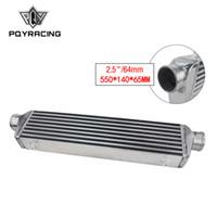 intercooler para al por mayor-PQY - 550 * 140 * 65 mm Placa de barra del intercooler turbo universal OD = Intercooler de montaje frontal de 2.5