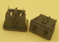Wholesale panel mount power socket resale online - 100Pcs AC V A Panel Mounting Power Socket Black for US Pin Plug