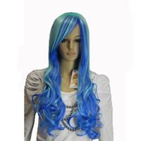 длинный волнистый фиолетовый парик оптовых-Длинные Волнистые Синий Фиолетовый Оранжевый Белый Синтетические Волосы женщин парик косплей Halloween party Парики