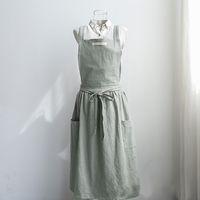 Wholesale cook dress resale online - Women Bib Apron Cotton Linen Sleeveless Pinafore Dress Kitchen Coffee Cooking Pink Light Green Dark Grey Washed Cotton Linen Y200103