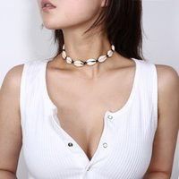 Wholesale diy shell necklace resale online - 2019 Newest Bohemia Vintage Choker Necklace Handmade DIY Cheap Natural Shell Shape Women Choker Jewelry Necklace Xmas Gifts For Girl M55Y