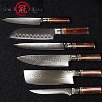 faca japonês conjunto venda por atacado-6 Pcs Faca Do Chef Conjunto facas do Chef Profissional VG10 Japonês Damasco Aço Melhor Presente Da Família Facas de Cozinha Damasco Japonês GRANDSHARP
