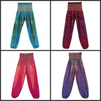 Wholesale quality yoga pants for sale - Group buy Peacock Bohemian Bloomers Thailand Loose High Quality Wide Leg Pants Red Green Purple Fashion Popular Yoga Trousers skD1