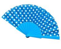points de couleur en plastique achat en gros de-éventail en plastique de conception de points avec le tissu de couleur différente, 50pcs / lot, taille 23cm