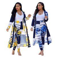 traje de terno al por mayor-Conjunto de dos piezas para mujer Vestido de manga larga para mujer Bata de capa Capa + Pantalones largos Legging para mujer Traje Femme Traje de dos piezas
