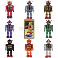 Wholesale toy walking robots resale online - Retro Vintage Batteries Operated Mechanical Walking Electron Robot Tin Toy Collectibles Kids Children Adults Toys Gifts SH190913
